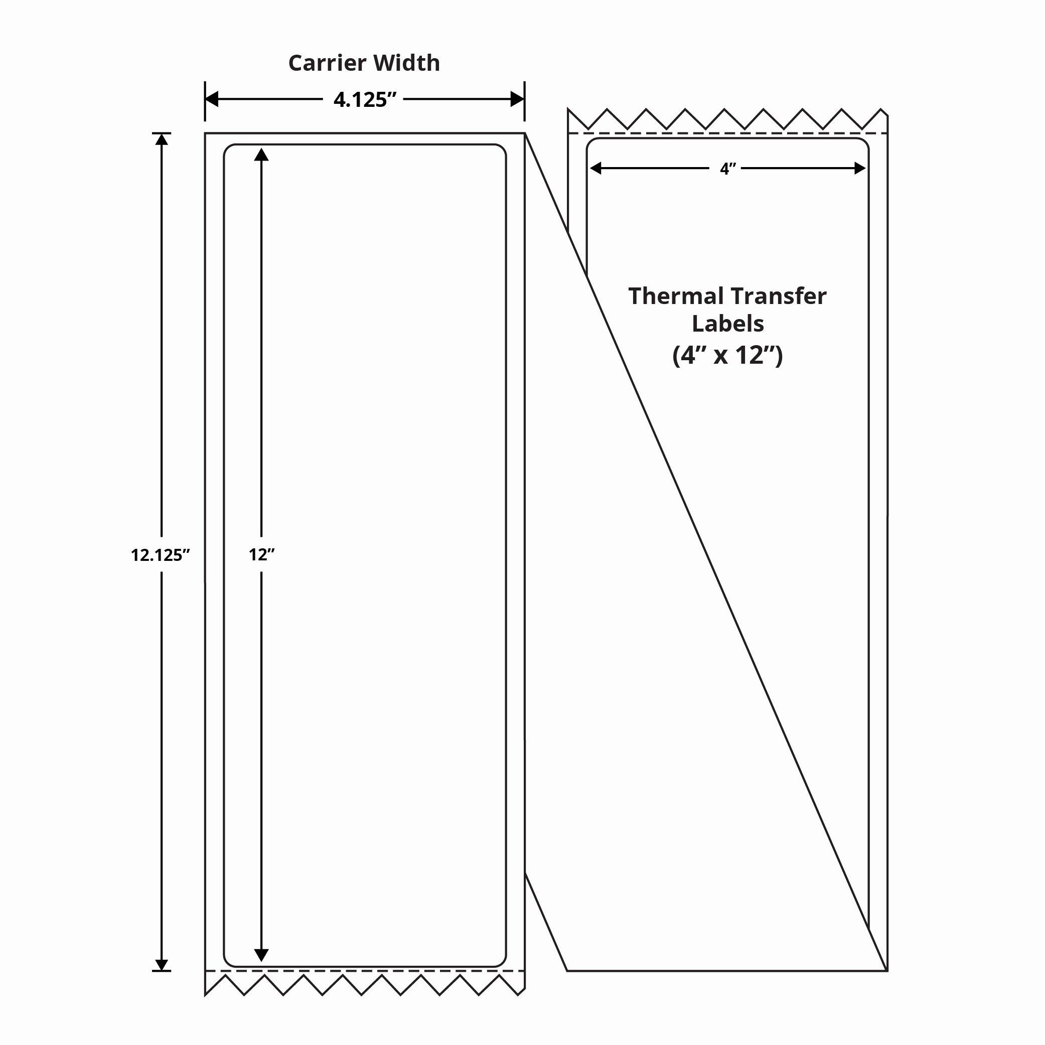 "Uline Premium Laser Labels New Premium 4"" X 12"" thermal Transfer Fanfold Labels"