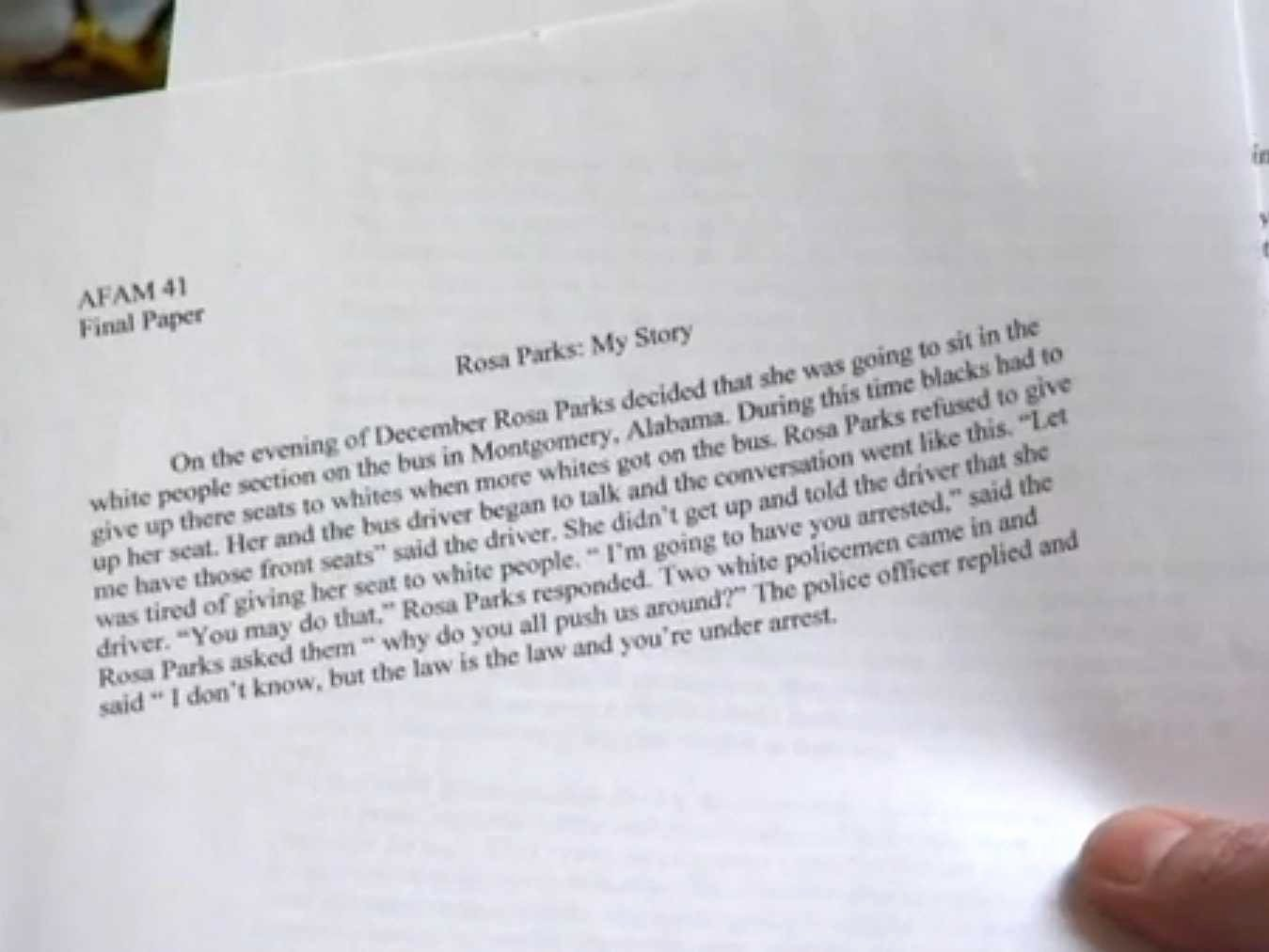 Unc Rosa Parks Final Paper Beautiful Unc athlete Essay Rosa Parks Gets A Minus Business