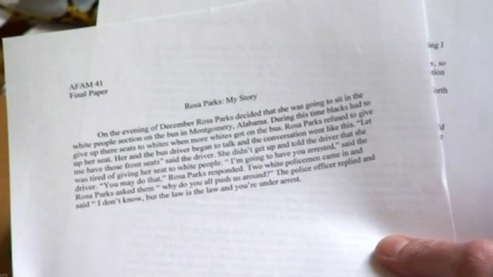Unc Rosa Parks Final Paper Fresh Unc athlete Earned An A for This Pitiful 148 Word Essay