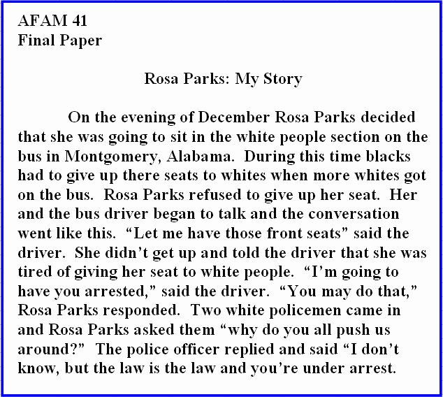 Unc Rosa Parks Final Paper Luxury Rosa Parks My Story Quotes Quotesgram