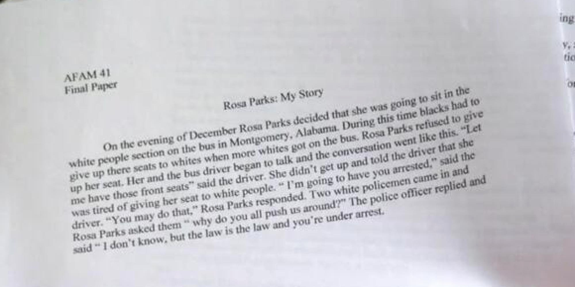 Unc Rosa Parks Final Paper New Unc Player Wrote This Paper Rosa Parks and somehow