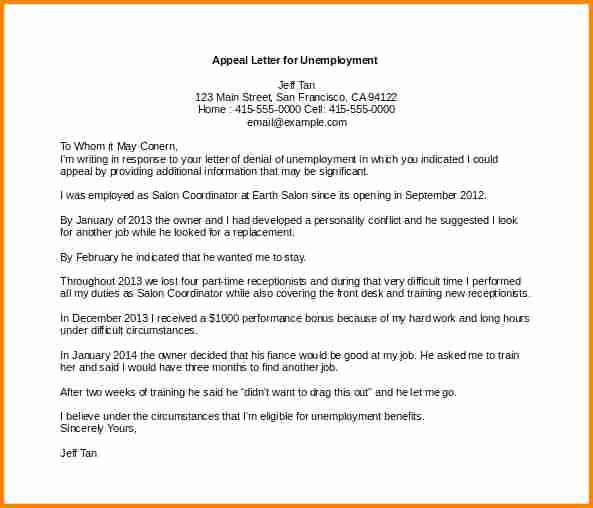 Unemployment Appeal Letter Beautiful 8 Sample Appeal Letter for Unemployment Denial