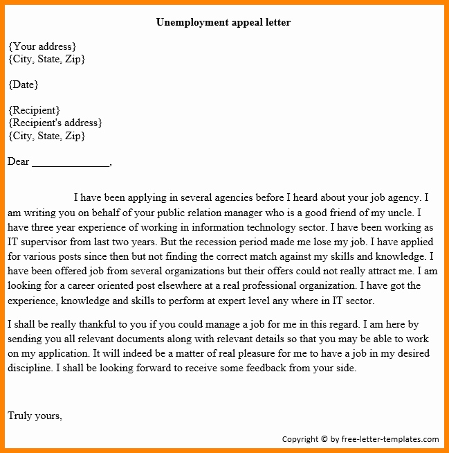 Unemployment Appeal Letter Fresh 12 Sample Unemployment Appeal Letter