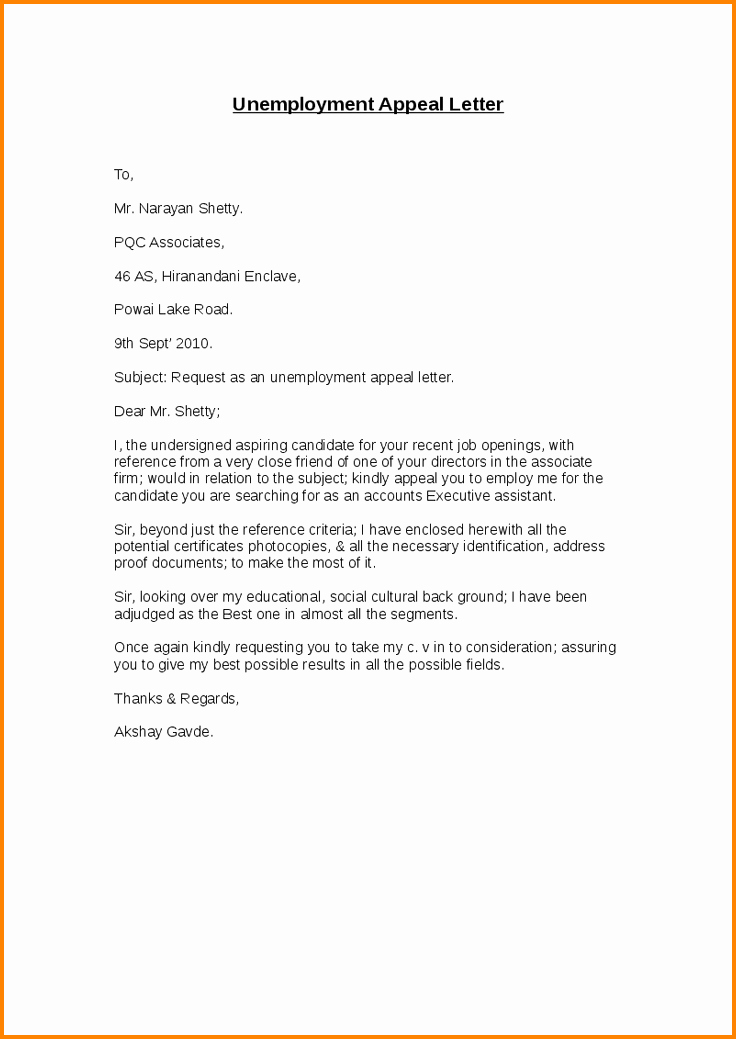 Unemployment Letter Template Inspirational 12 Sample Unemployment Appeal Letter