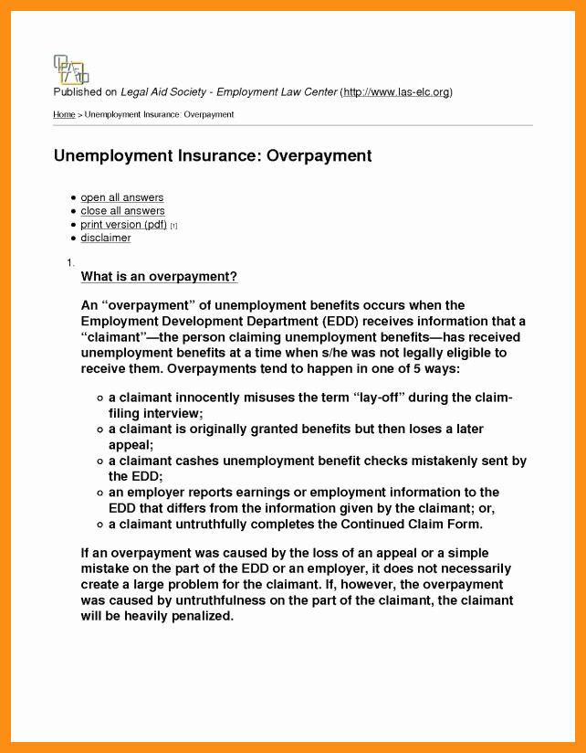 Unemployment Letter Template Unique 9 10 Edd Appeal Letter Sample