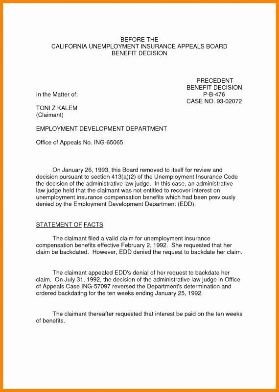 Unemployment Letter Template Unique Unemployment Appeal Letter