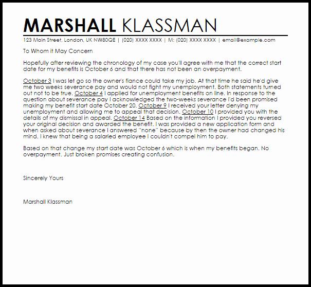 Unemployment Letter Template Unique Unemployment Overpayment Appeal Letter