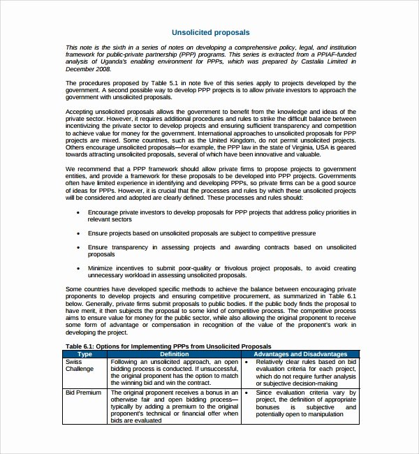 Unsolicited Proposal Sample New Sample Unsolicited Proposal Template 9 Free Documents