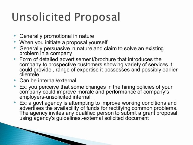 Unsolicited Proposal Sample Unique Business Proposal