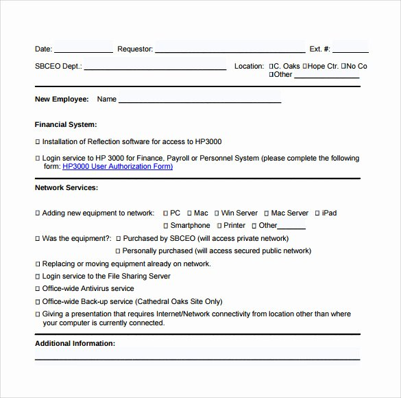 User Access Request form Template Inspirational Sample Puter Service Request form 12 Download Free