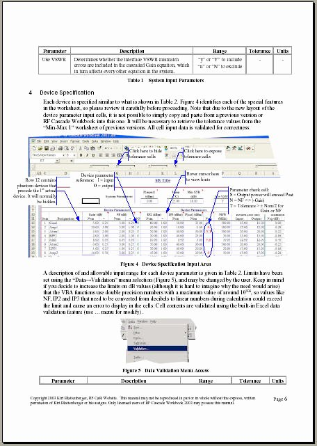 User Guide Sample Elegant Rf Cascade Workbook 2003 User S Guide Pages Rf Cafe