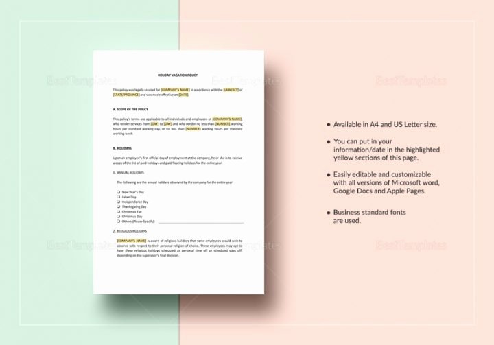 Vacation Policy Template Beautiful 2 Vacation Policy Templates Pdf Doc