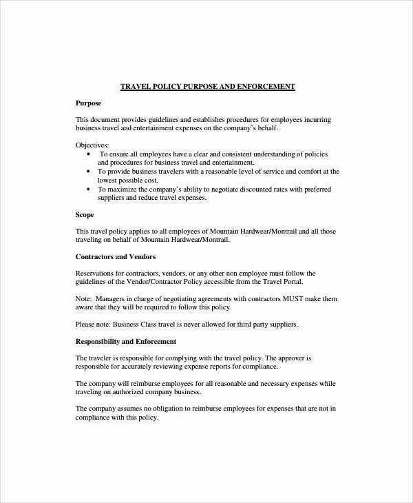 Vacation Policy Template Beautiful Sample Travel Policy Template 9 Free Documents Download