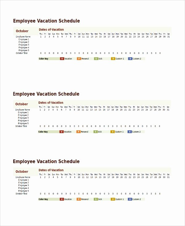 Vacation Policy Template Beautiful Sample Vacation Schedule Template 8 Free Documents