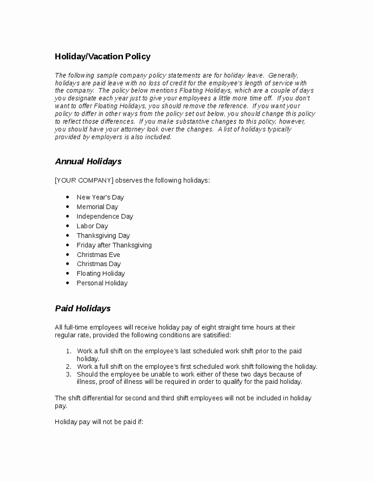 Vacation Policy Template Best Of 28 Of Template Vacation Policy