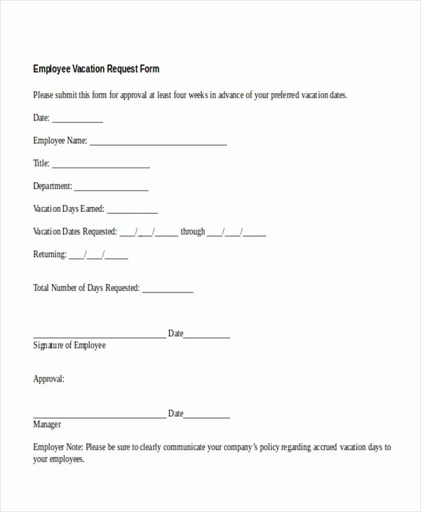 Vacation Policy Template New Sample Vacation Request form 11 Free Documents In Doc Pdf