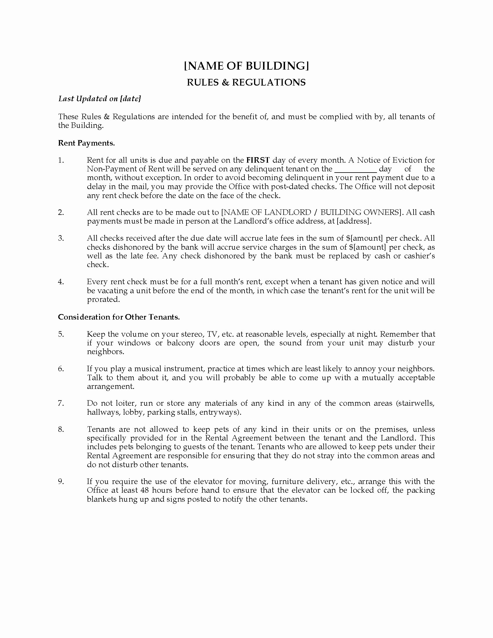 Vacation Rental House Rules Template Fresh Apartment Building Rules and Regulations