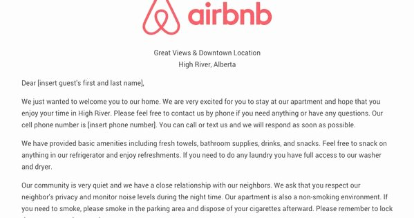 Vacation Rental House Rules Template Lovely Download the Airbnb Wel E Letter Template as Airbnb