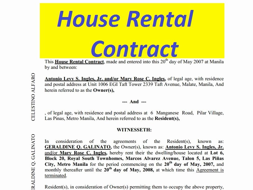 Vacation Rental House Rules Template New House Rental Contract Free to Print Doc and Pdf