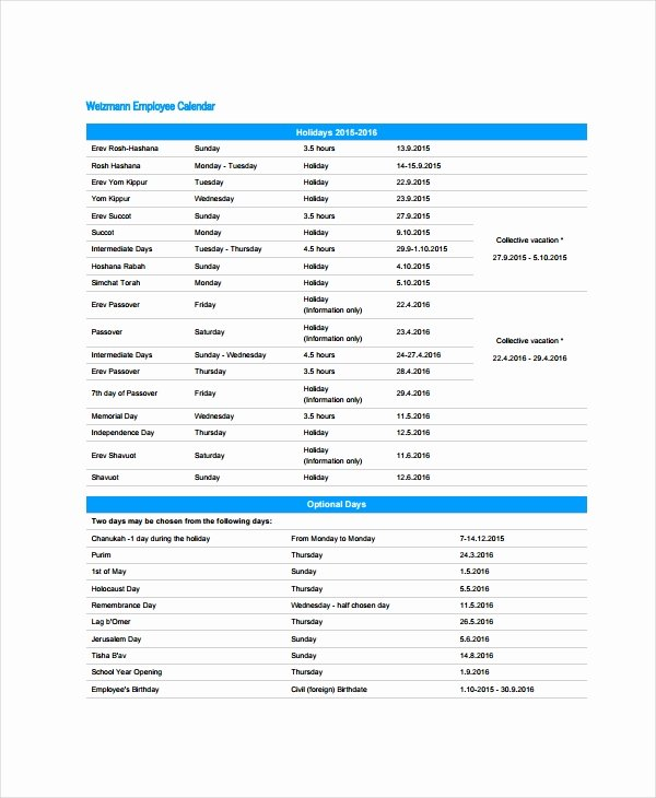Vacation Schedule Template 2016 Awesome 16 Calendar Templates