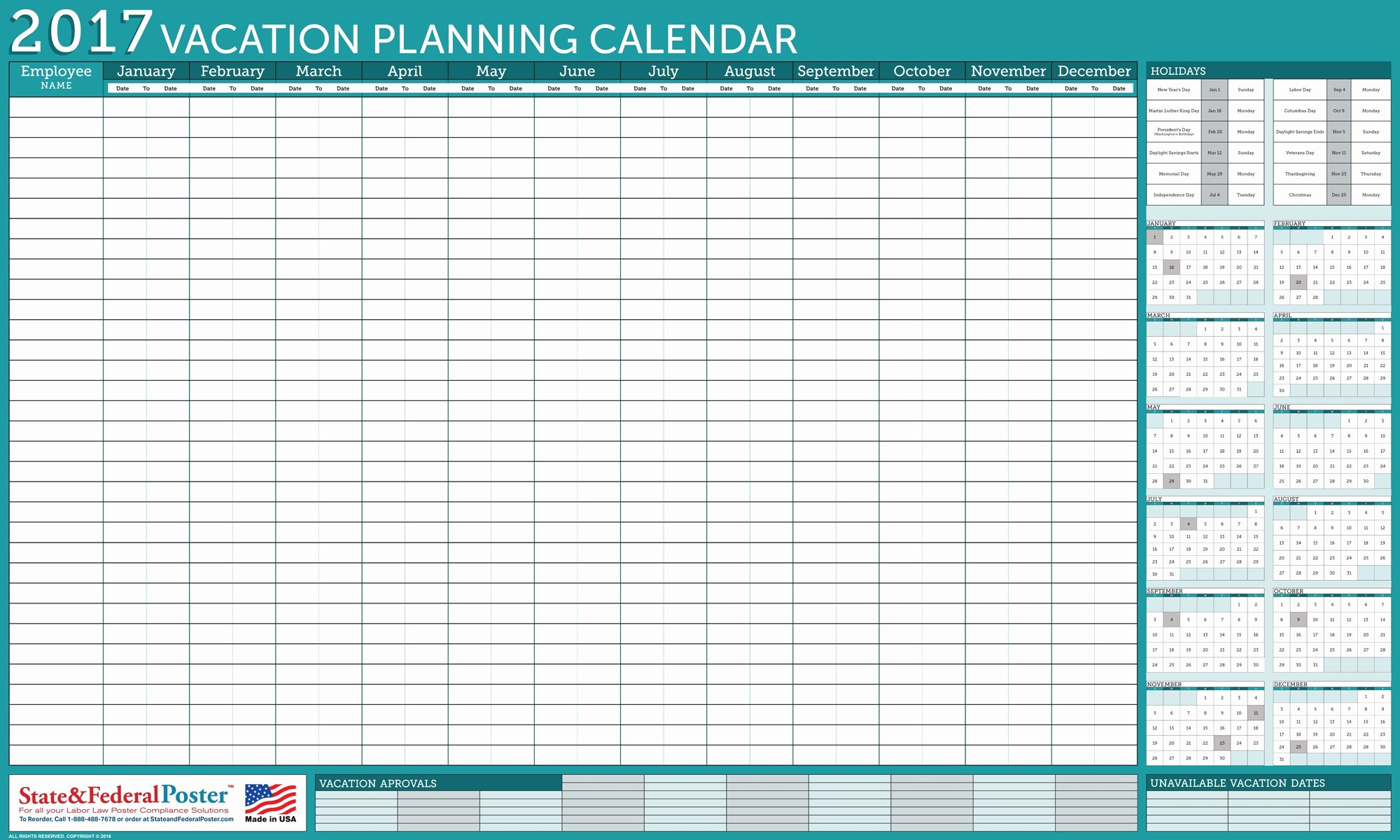 Vacation Schedule Template 2016 Best Of Fice Wall 2017 Vacation Planner Turquoise 40 X 24 Inches