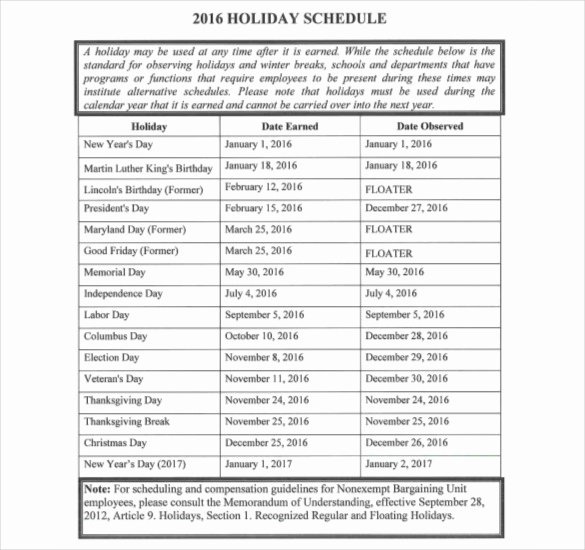 Vacation Schedule Template 2016 Best Of Holiday Schedule Template – 15 Free Pdf Documents