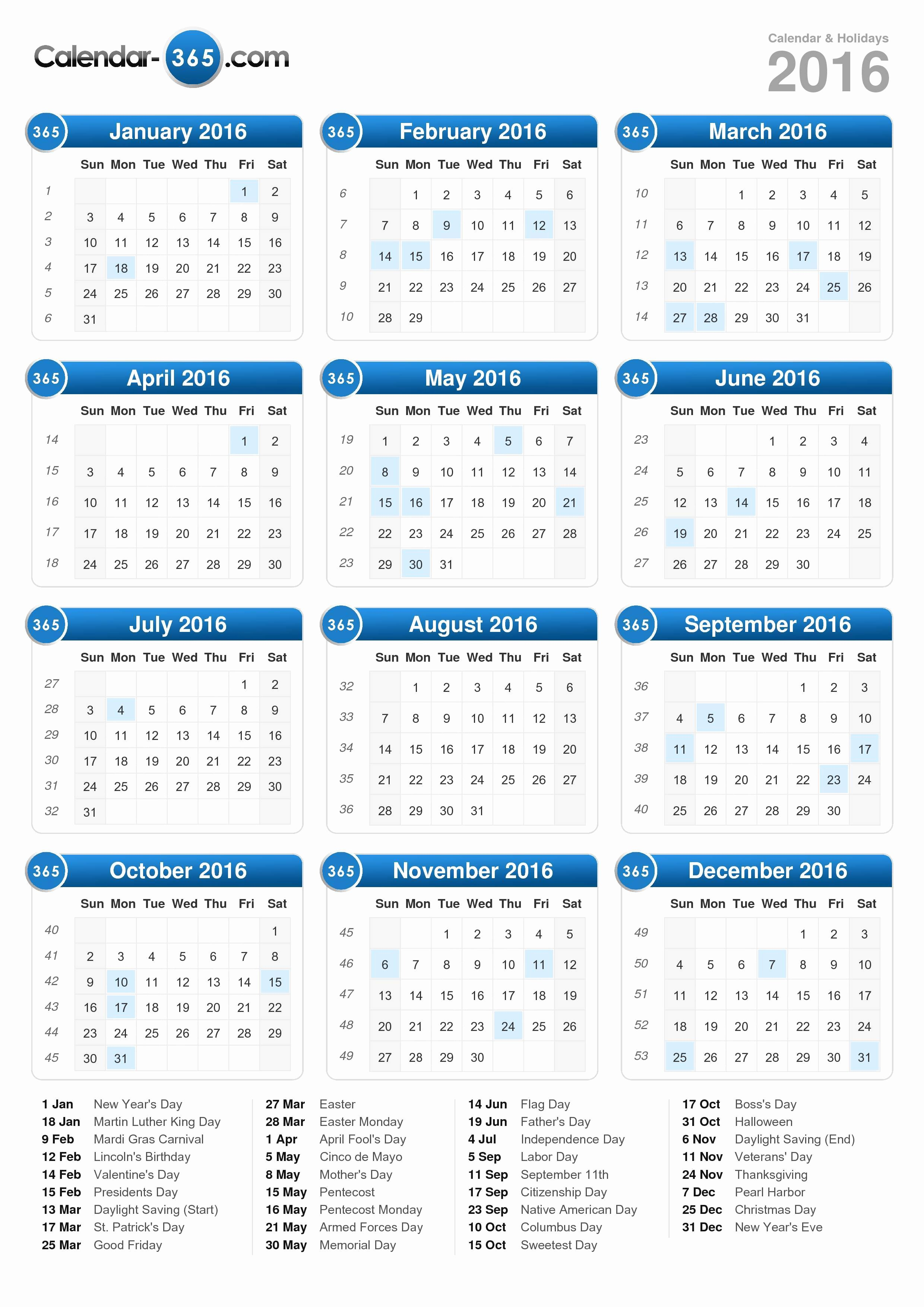 Vacation Schedule Template 2016 Elegant 2016 Calendar