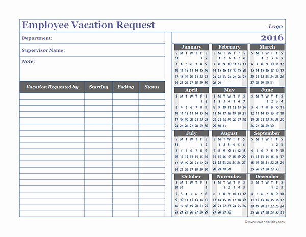 Vacation Schedule Template 2016 Lovely 2016 Business Employee Vacation Request Free Printable