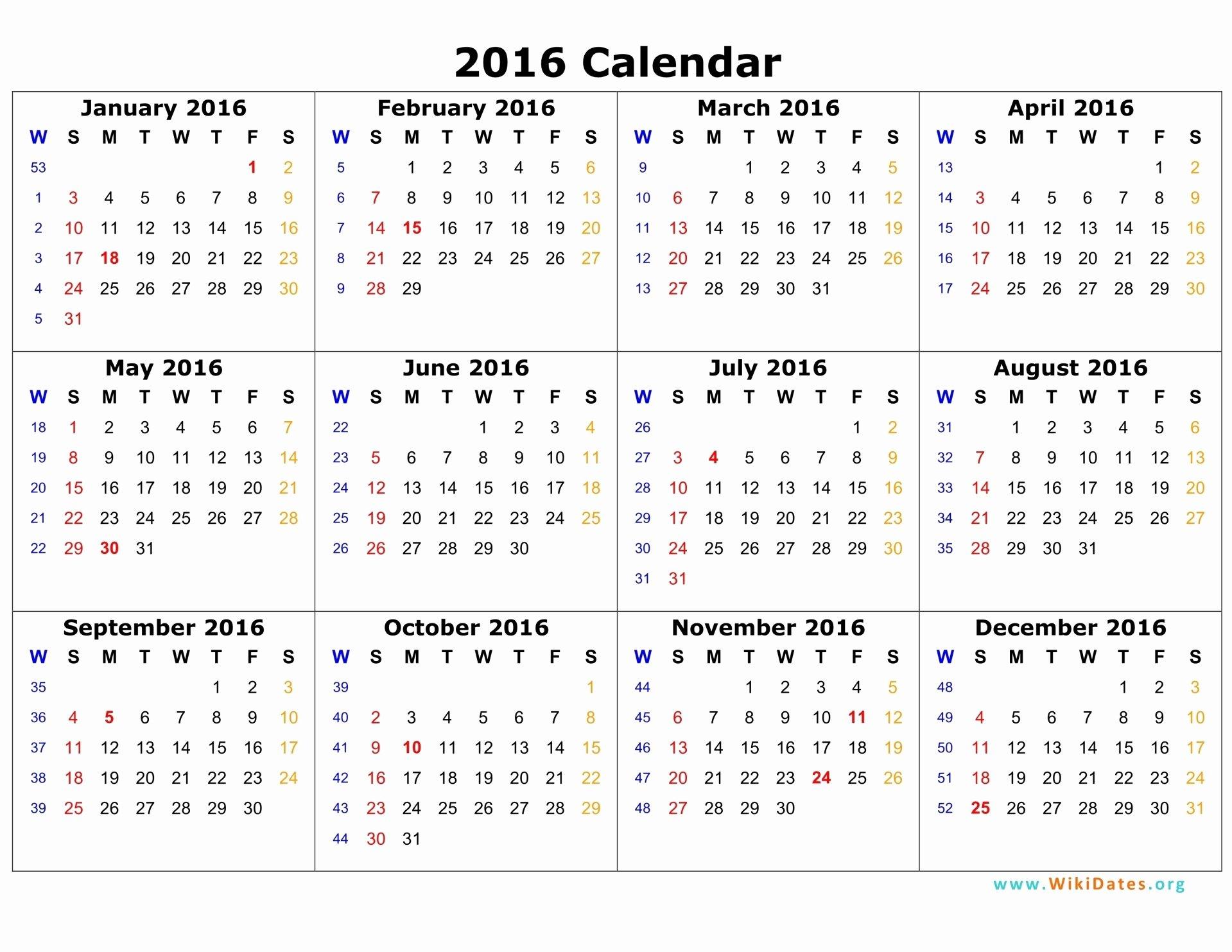 Vacation Schedule Template 2016 Luxury 2016 Calendar