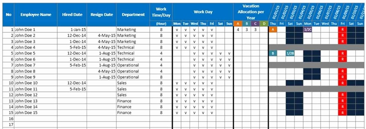 Vacation Schedule Template 2016 Luxury Employee Vacation Planner