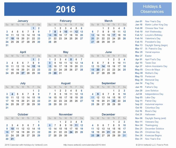 Vacation Schedule Template 2016 Unique Download A Free Printable 2016 Holiday Calendar From