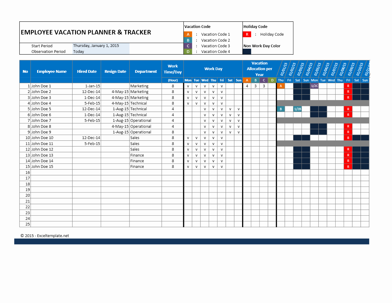 Vacation Schedule Template 2016 Unique Employee attendance Calendar and Vacation Planner