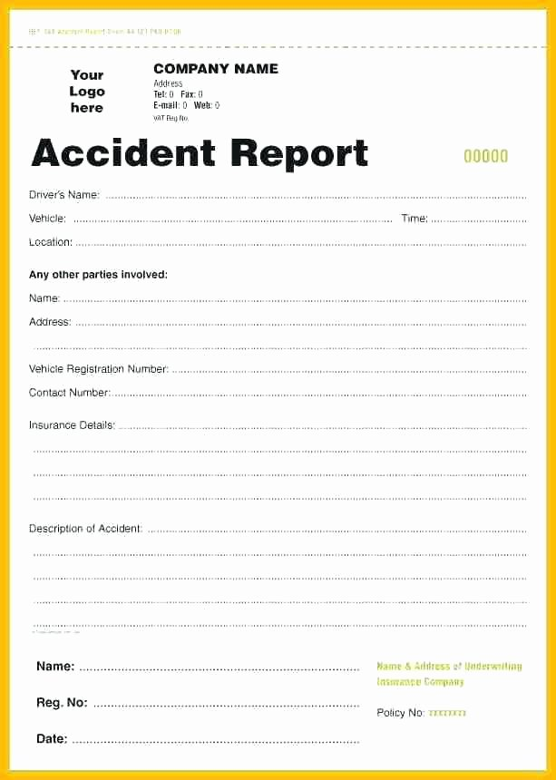 Vehicle Accident Report form Template Best Of Work Accident Report form Template Employee Incident Free