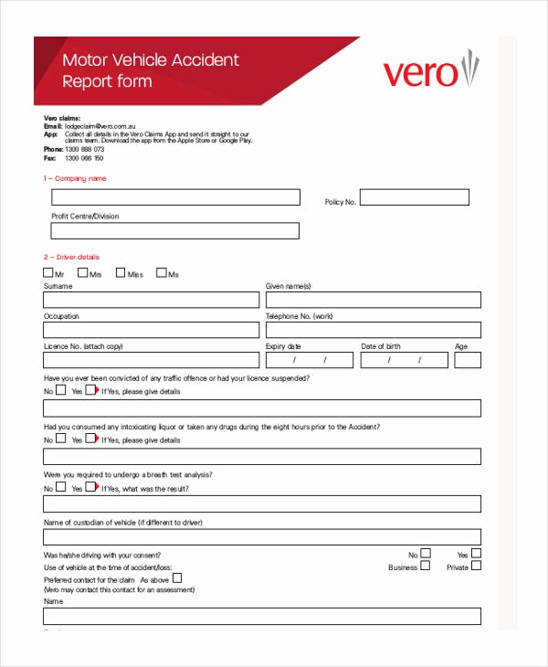Vehicle Accident Report form Unique 28 Sample Accident Report forms