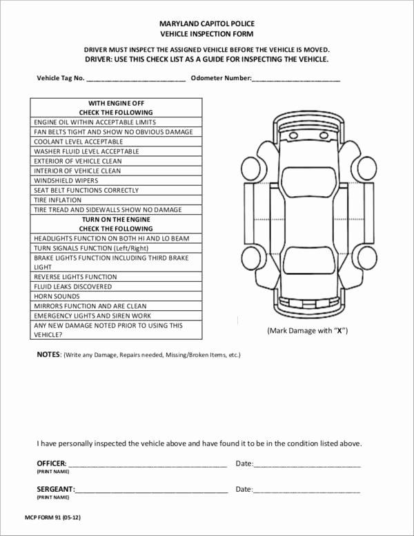 Vehicle Check Sheet Template Elegant 20 Vehicle Checklist Samples & Templates Pdf Word format