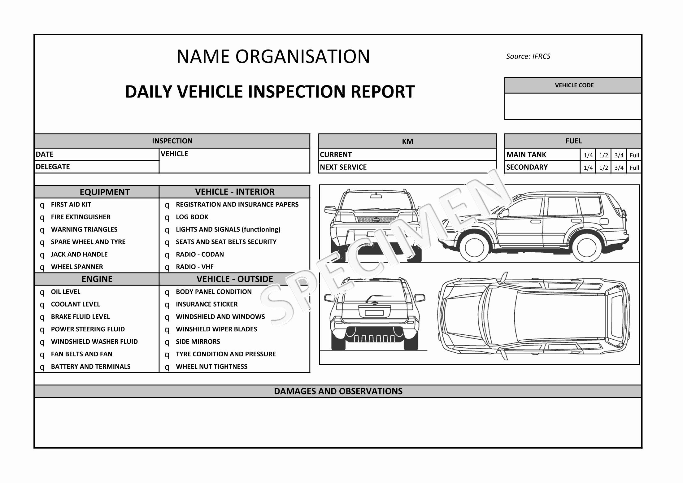 Vehicle Check Sheet Template Fresh Auto Condition Report Templates Windowswinner