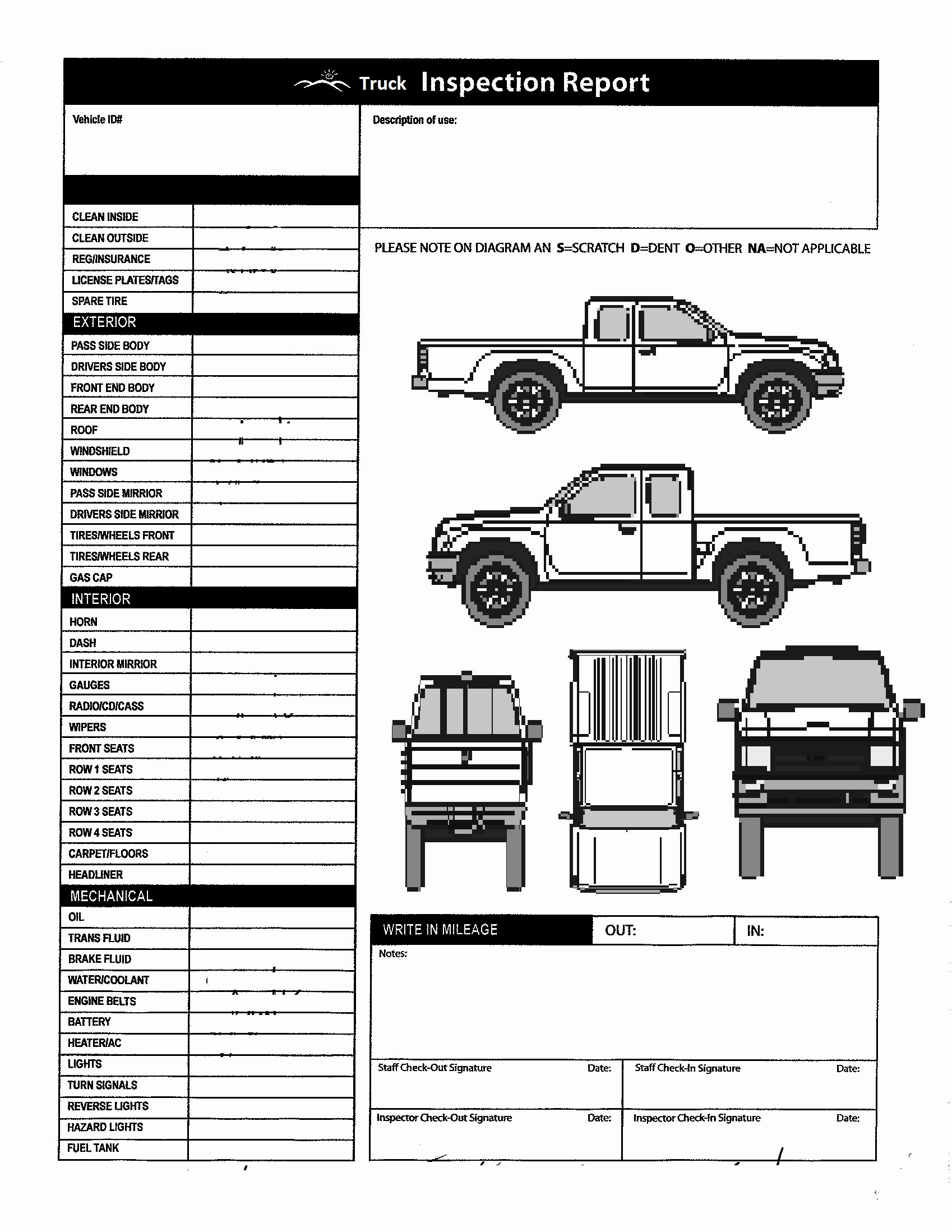 Vehicle Check Sheet Template Inspirational Vehicle Inspection form Template