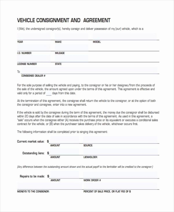Vehicle Consignment Agreement Beautiful 11 Consignment Agreement form Samples Word Pdf