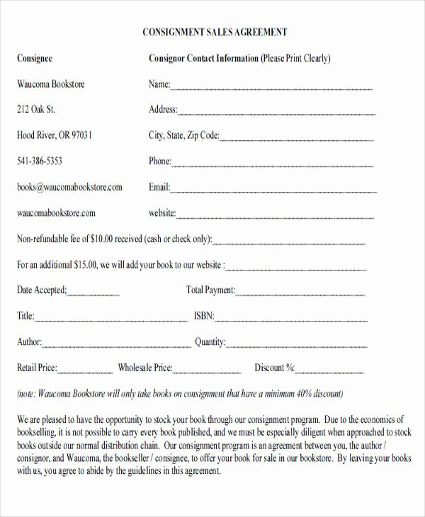 Vehicle Consignment Agreement Beautiful 39 Agreement forms In Pdf
