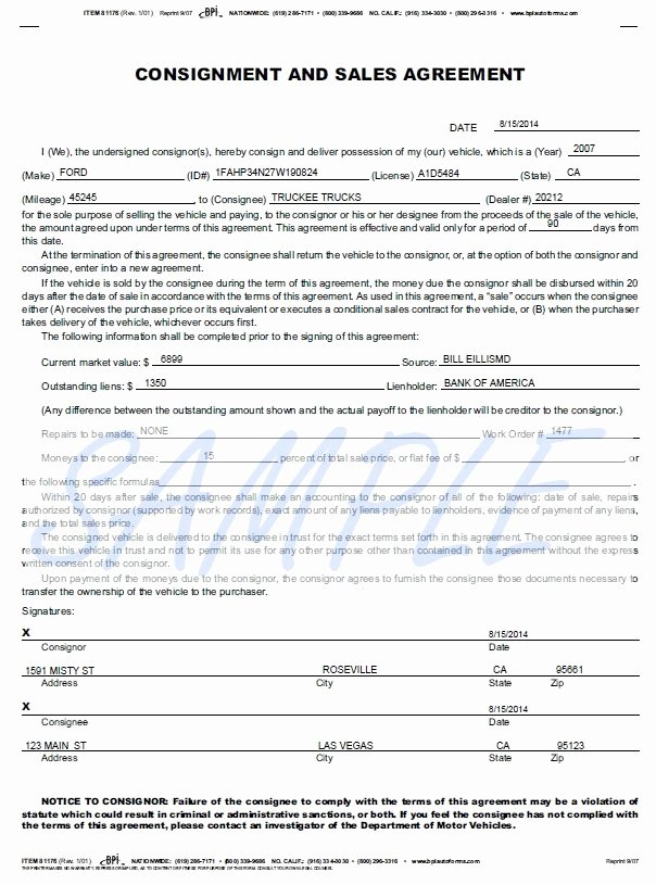 Vehicle Consignment Agreement Beautiful Printerformsz Sample E forms