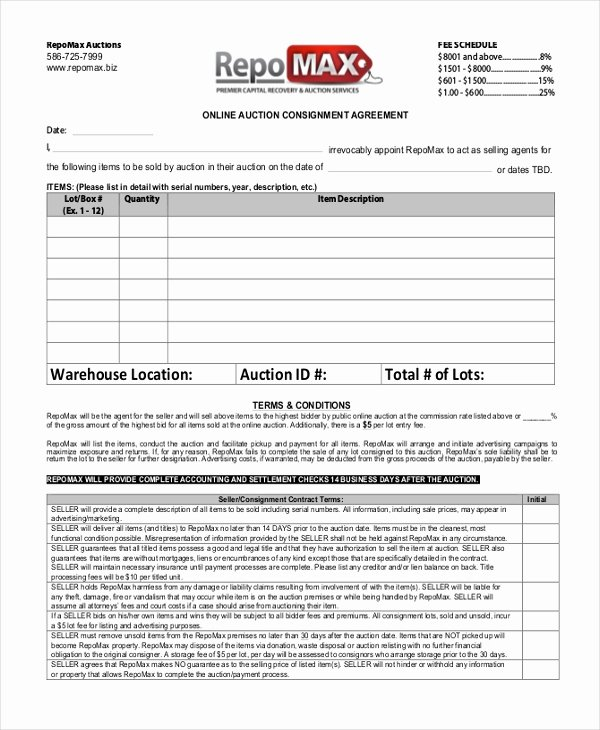 Vehicle Consignment Agreement Beautiful Sample Consignment Agreement form 8 Free Documents In Pdf