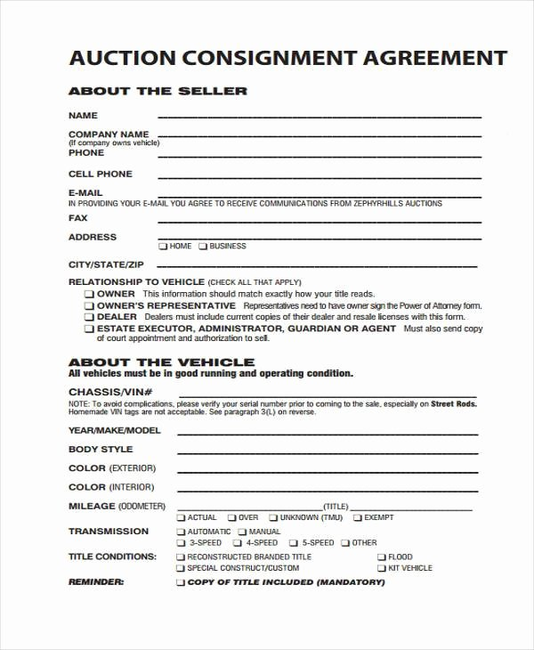 Vehicle Consignment Agreement Fresh 11 Consignment Agreement form Samples Word Pdf