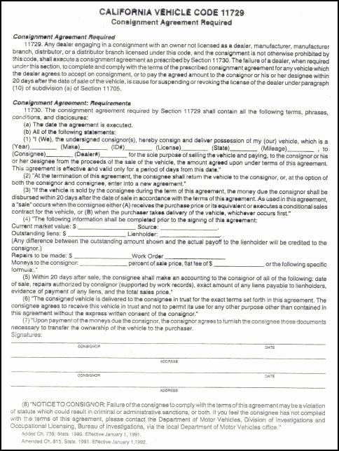 Vehicle Consignment Agreement Fresh Study Guide 2nd attempt California Auto Dealer Education