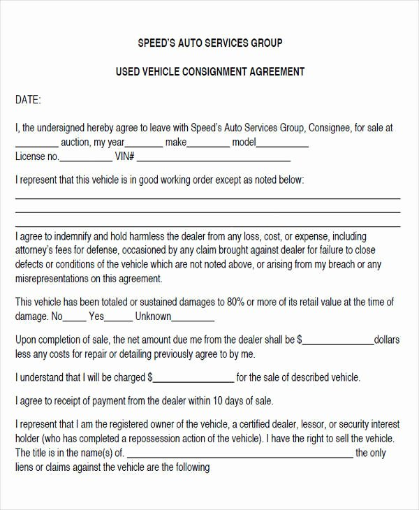 Vehicle Consignment Agreement Inspirational 44 Agreement form Examples