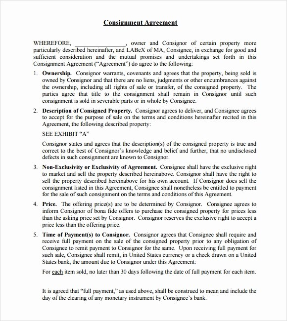 Vehicle Consignment Agreement Lovely 11 Sample Consignment Agreements Word Pdf