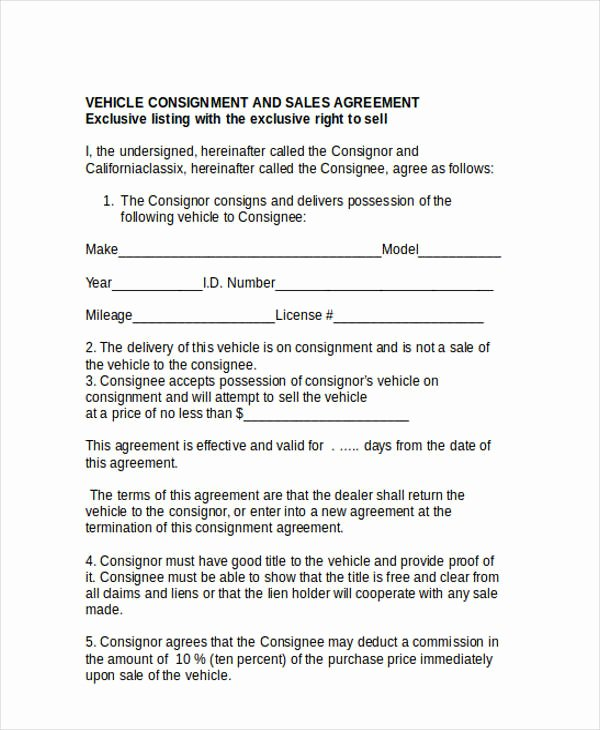 Vehicle Consignment Agreement Lovely 31 Free Sales Agreement forms