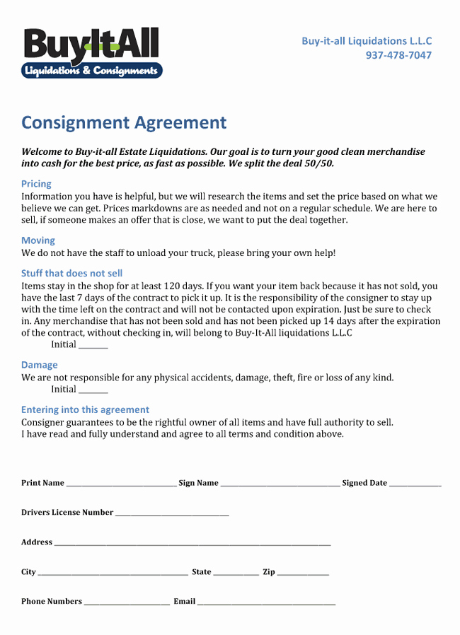 Vehicle Consignment Agreement Lovely Consignment Agreement
