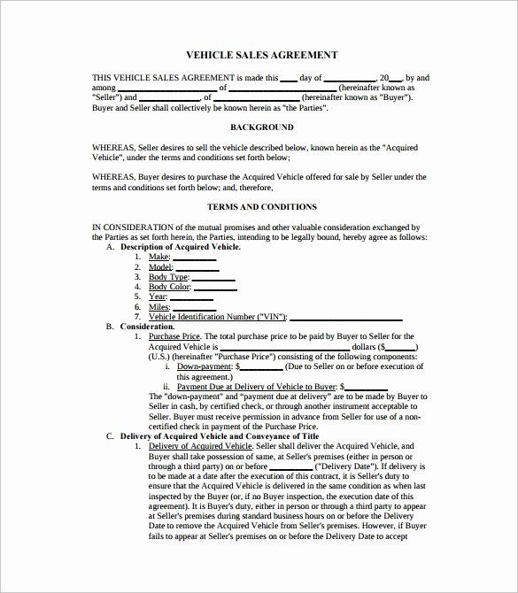 Vehicle Consignment Agreement Lovely Sales Agreement 10 Download Free Documents In Word Pdf