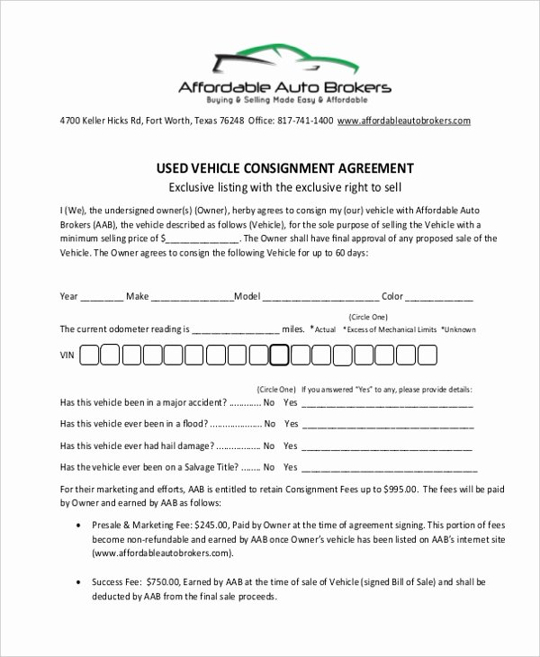 Vehicle Consignment Agreement Luxury Sample Consignment Agreement form 8 Free Documents In Pdf
