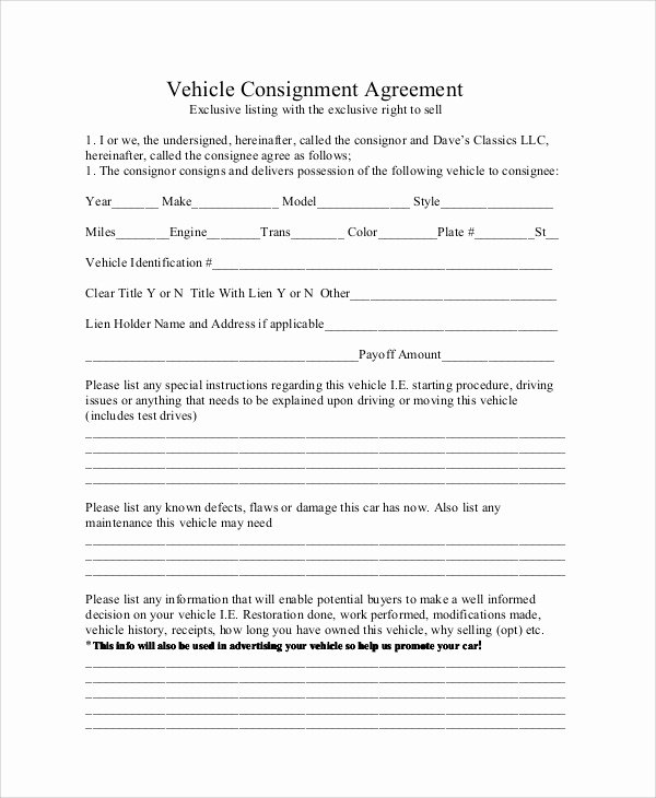 Vehicle Consignment Agreement New 10 Sample Consignment Agreements
